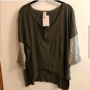 NWT Free People Distressed Oversized Henley XS S